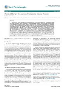 Physical Therapy Research in Professional ... - OMICS International