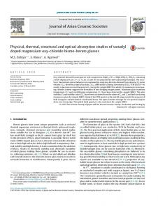 Physical, thermal, structural and optical absorption studies of ... - Core