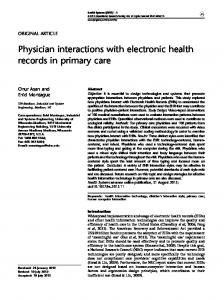 Physician interactions with electronic health records in primary care