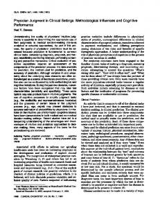 Physician Judgment in Clinical Settings - Clinical Chemistry