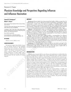Physician Knowledge and Perspectives Regarding Influenza and ...