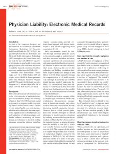 Physician Liability: Electronic Medical Records