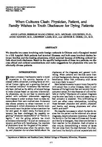 Physician, Patient, and Family Wishes in Truth Disclosure for Dying ...