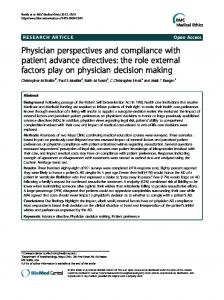 Physician perspectives and compliance with patient advance ...