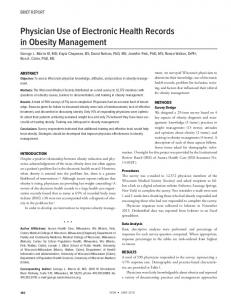 Physician Use of Electronic Health Records in Obesity Management
