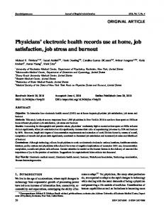Physicians' electronic health records use at home, job ...