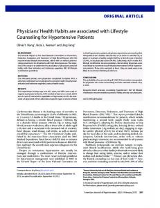 Physicians' Health Habits are associated with