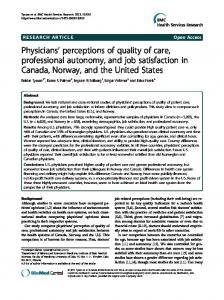Physicians' perceptions of quality of care ... - BioMedSearch