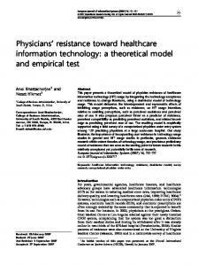 Physicians' resistance toward healthcare information technology: a ...