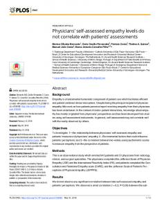 Physicians' self-assessed empathy levels do not correlate with ... - PLOS