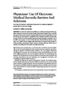 Physicians' Use Of Electronic Medical Records: Barriers And Solutions