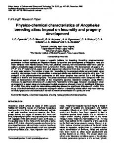 Physico-chemical characteristics of Anopheles breeding sites: Impact ...