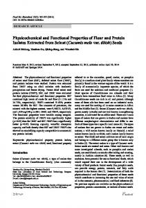 Physicochemical and Functional Properties of Flour and Protein ...
