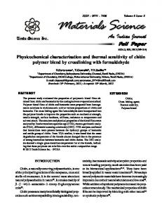 Physicochemical characterisation and thermal ... - Trade Science Inc
