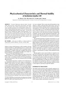 Physicochemical Characteristics and Thermal Stability of Jordanian
