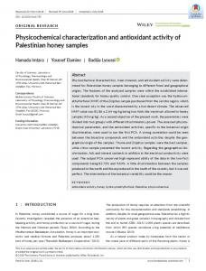 Physicochemical characterization and antioxidant