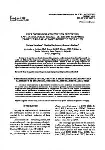 physicochemical composition, properties, and technological ...
