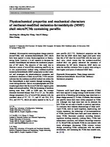 Physicochemical properties and mechanical characters of methanol ...