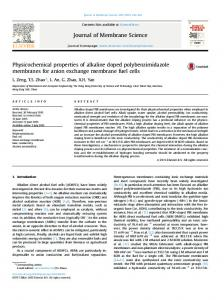 Physicochemical properties of alkaline doped polybenzimidazole ...