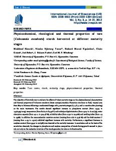 Physicochemical, rheological and thermal properties of taro ...