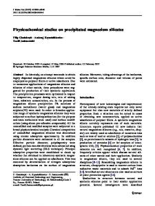 Physicochemical studies on precipitated magnesium ... - Springer Link