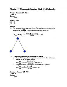 Physics 111 Homework Solutions Week #3 - Wednesday ( )