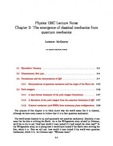 Physics 130C Lecture Notes Chapter 2: The emergence of classical ...