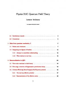 Physics 215C: Quantum Field Theory - UCSD Department of Physics