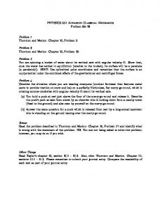 PHYSICS 331 Advanced Classical Mechanics Problem Set 28 ...