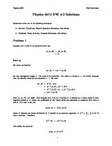 Physics 6572 HW #2 Solutions