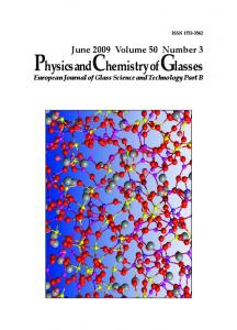 Physics and Chemistry of Glasses