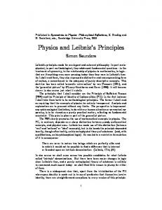 Physics and Leibnizhs Principles - Core