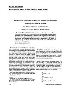 PHYSICS AND RADIATION BIOLOGY Radiation Decomposition of ...