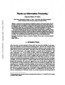 Physics as Information Processing