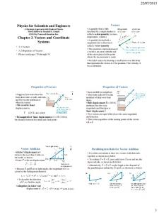 Physics for Scientists and Engineers Chapter 3. Vectors and ...