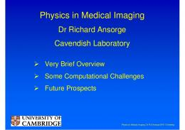 Physics in Medical Imaging - EPS-12
