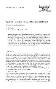Physics Relativistic Quantum Theory without ... - Project Euclid
