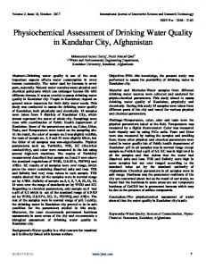 Physiochemical Assessment of Drinking Water Quality ...