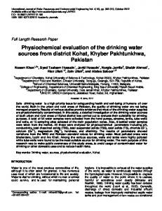 Physiochemical evaluation of the drinking water ...
