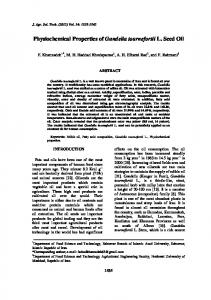Physiochemical Properties of Gundelia tournefortii L. Seed Oil