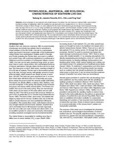 physiological, anatomical, and ecological characteristics of southern ...