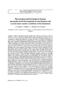 Physiological and biochemical changes during the larval development ...