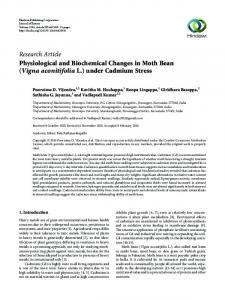 Physiological and Biochemical Changes in Moth Bean (Vigna