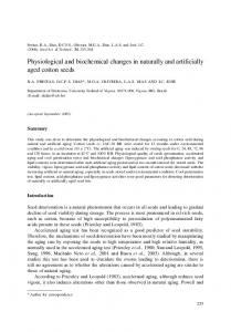 Physiological and biochemical changes in naturally ... - IngentaConnect