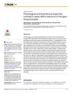 Physiological and biochemical responses involved ... - Semantic Scholar