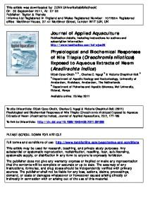 Physiological and Biochemical Responses of Nile Tilapia ...