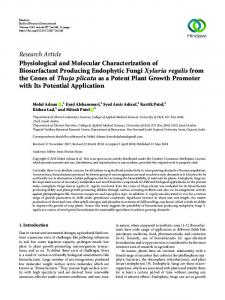 Physiological and Molecular Characterization of Biosurfactant