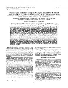 Physiological and Morphological Changes Induced by Nutrient ...