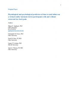 Physiological and psychological predictors of time to
