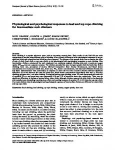 Physiological and psychological responses to lead ...